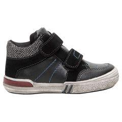 Hoge sneakers met 2 klittenbandsluitingen en rand met visgraatmotief