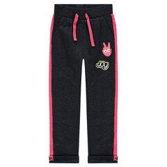 Joggingbroek van molton met badges en roze details