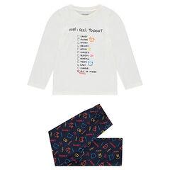 Pyjama en jersey avec textes printés et motif fantaisie all-over