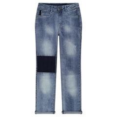 Junior - Jeans met used effect en contrasterende inzetstukken