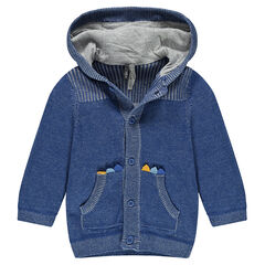 Gilet à capuche en tricot avec poches kangourou et crête cousue