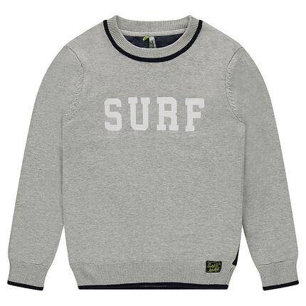 """Junior - Pull en tricot avec inscription """"Surf"""" et dos à croisillons"""