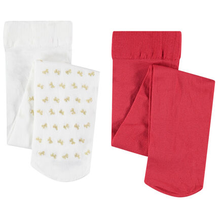 Lot de 2 collants fins rouge / à noeuds dorés