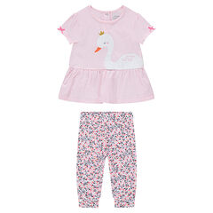"Ensemble met T-shirt met volants en legging met bloemenprint ""all-over"""