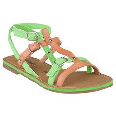 Open schoenen met studs in groen kleur
