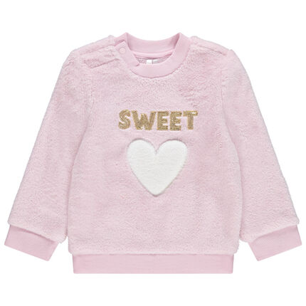 Sweat en sherpa rose avec message en sequins dorés