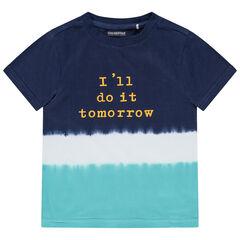 T-shirt met korte mouwen in drie kleuren met tie and dye effect en boodschap