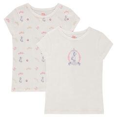 Lot de 2 maillots de corps manches courtes ©Disney avec princesses printées