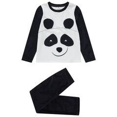 Pyjama panda in twee kleuren van velours