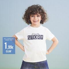 Effen T-shirt met korte mouwen en print met boodschap