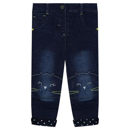 Jeans effet used doublé jersey avec têtes de chat brodées