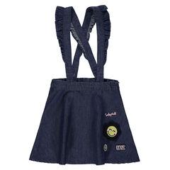 Robe-salopette en chambray avec bretelles volantées et ©Smiley brodé