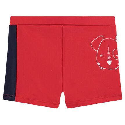 Zwemshort met twee kleuren en hondenprint