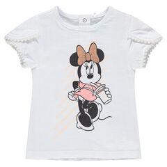 T-shirt met korte mouwen met print van Disney's Minnie en biesjes