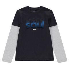 Junior - T-shirt van jerseystof met lange mouwen en 2-in-1 effect met print met woord