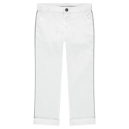 Pantalon blanc en coton fantaisie de cérémonie