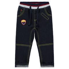Jeans à taille élastiquée et badge appliqué