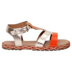 Gouden en oranje lederen sandalen met parels en zool uit gevlochten touwtjes