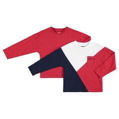 Junior - Set met 2 bijpassende T-shirts met lange mouwen effen / met contrasterende banden en zakje