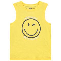 Débardeur jaune uni print Smiley