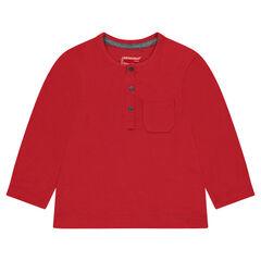 Tee-shirt manches longues en jersey slub avec poche plaquée