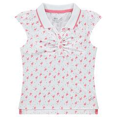 """Polo met korte mouwen van jerseystof met print met roze flamingo's """"all-over"""""""