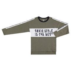 Junior - T-shirt met lange mouwen van slub jerseystof en print met opschriften