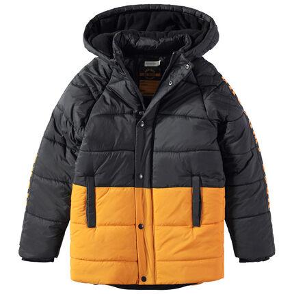 Junior - Gewatteerde parka in twee kleuren met voering met fleece en contrasterende opschriften