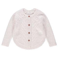 Gilet en tricot avec jeux de mailles et base arrondie
