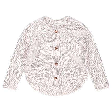 Gilet en tricot avec jeux de mailles et pans arrondis