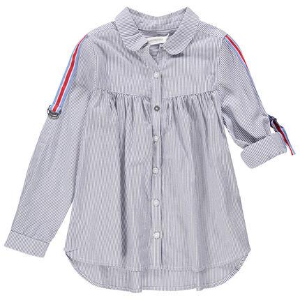 Chemise manches longues à fines rayures et bandes tricolores