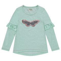 T-shirt met lange mouwen van gemêleerde jerseystof met volants en vlinder van magische lovertjes