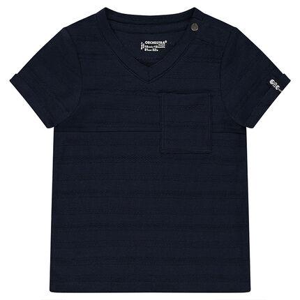 T-shirt met korte mouwen van slub met zakje met print