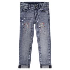 Jeans effet used coupe slim avec taches de peinture