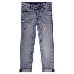 Slim-fit jeans met used-effect en verfvlekken