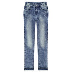 Junior - Jeans coupe slim avec strass fantaisie