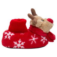 Pantoffels van peluche kersthert en motief met sneeuwvlokken, van maat 24 tot 27