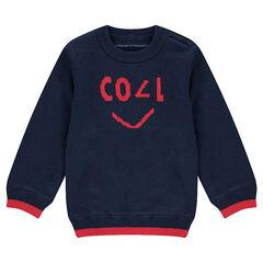 Pull en tricot réversible avec 1 côté uni motif jacquard et 1 côté rayé