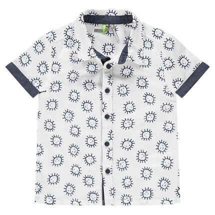 Chemise manches courtes en coton avec soleils printés et touches de chambray