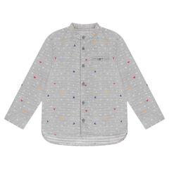 Chemise manches longues avec lettres et serti Mickey ©Disney