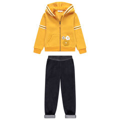 Jogging avec gilet à capuche jaune et pantalon contrecollé sherpa