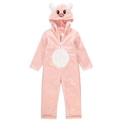 Surpyjama animal fantaisie en sherpa rose