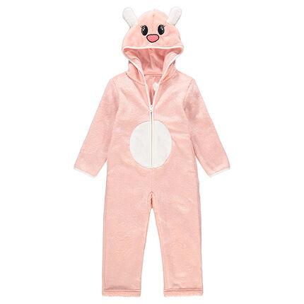 Overpyjama van fantasiedier uit roze sherpastof