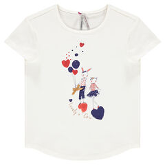 Tee-shirt manches courtes avec print fantaisie et paillettes
