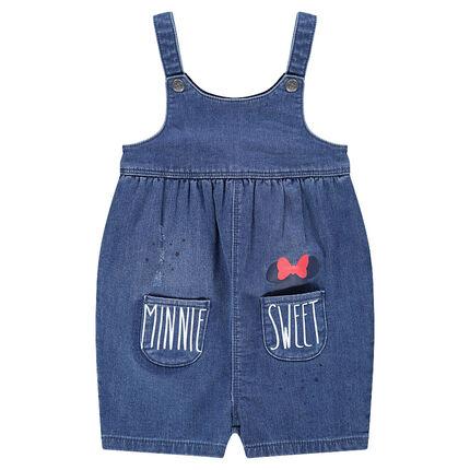Salopette courte en jeans avec poches et print Minnie Disney