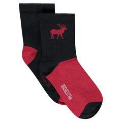 Lot de 2 paires de chaussettes unies / bicolores avec cerf en jacquard