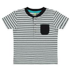 Tee-shirt manches courtes effet 2 en 1 rayé avec poche