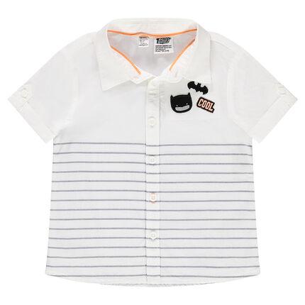 Chemise manches courtes en coton avec badge Batman et rayures placées