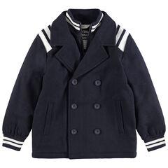 Mantel van wol met 2-in-1-effect en contrasterende stroken