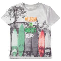 Junior - T-shirt manches courtes avec planches de surf printées all-over